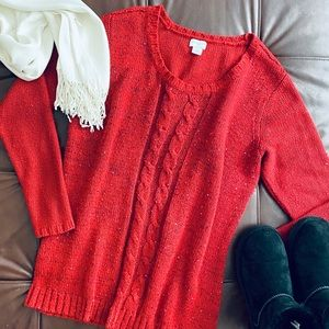 Red Jaclyn Smith Christmas Sparkle Sweater XL EUC